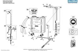 Die Ersatzteilzeichnung mit der Teileliste für das Kolbenrückensprühgerät Gloria Classic 1200 zum herunterladen und ausdrucken.