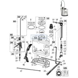 Die Ersatzteilzeichnung mit der Teileliste für das Kolbenrückensprühgerät Gloria 2016 zum herunterladen und ausdrucken.