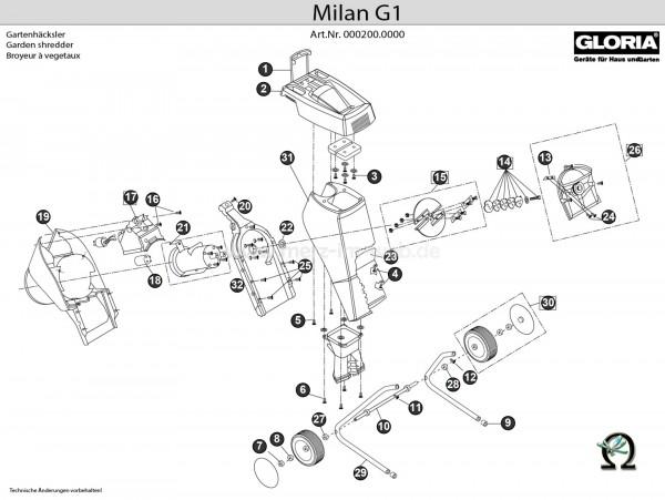 Gartenhäcksler Gloria Milan G1 Explosionszeichnung (Bild Nr. 9), GLORIA Rohrschutzkappe 610030