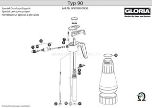 Explosionszeichnung mit Ersatzteilliste für das Handsprühgerät Gloria Typ 90
