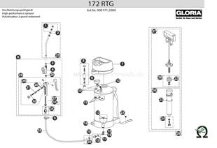 Hochdrucksprühgerät Gloria 172 RTG, Zeichnung der Einzelteile