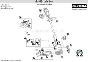 Elektrobürste GLORIA MultiBrush li-on, Zeichnung der Einzelteile