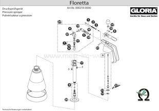 Explosionszeichnung mit Ersatzteilliste für das Handsprühgerät Gloria Floretta