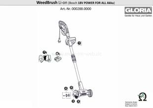 GLORIA WeedBrush li-on, Explosionszeichnung mit Ersatzteilliste