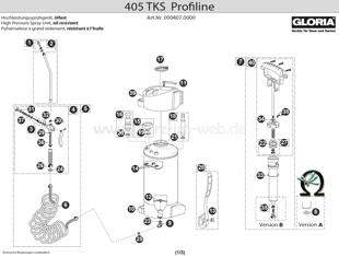 Hochdrucksprühgerät GLORIA 405 TKS Profiline, Zeichnung der Einzelteile