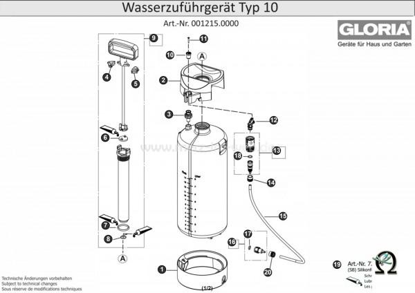 GLORIA Wasserzuführgerät Typ 10 Bild Nr. 15, GLORIA Schlauch 551293 6×1,5×3500 mm