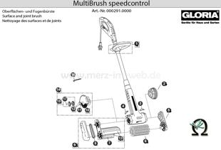 Elektrobürste GLORIA MultiBrush speedcontrol, Zeichnung der Einzelteile