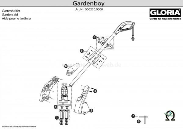 Gloria Gardenboy PLUS Explosionszeichnung (Bild Nr. 10 und 12), GLORIA Federring 610643 für Gardenboy PLUS