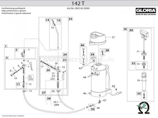 GLORIA Drucksprühgerät 142 T Bild Nr. 30, GLORIA Schlauch 501560 10×3×2000 mm