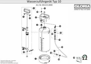 Wasserzuführgerät GLORIA Typ 10, Zeichnung der Einzelteile