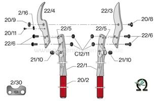 Felco 22, Zeichnung der Einzelteile