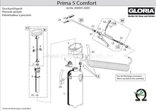 Explosionszeichnung mit Ersatzteilliste für das Drucksprühgerät Gloria prima 5 Comfort