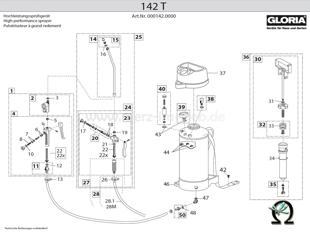 Explosionszeichnung mit Ersatzteilliste für das Hochdrucksprühgerät Gloria 142 T