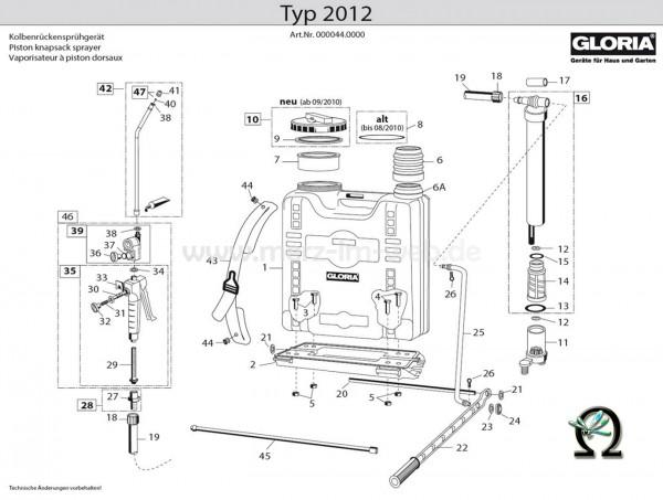 Kolbenrückensprühgerät Typ 2012, Zeichnung der Einzelteile, Bild Nr. 1, GLORIA Behälter für Kolbenrückensprühgerät Typ 2012