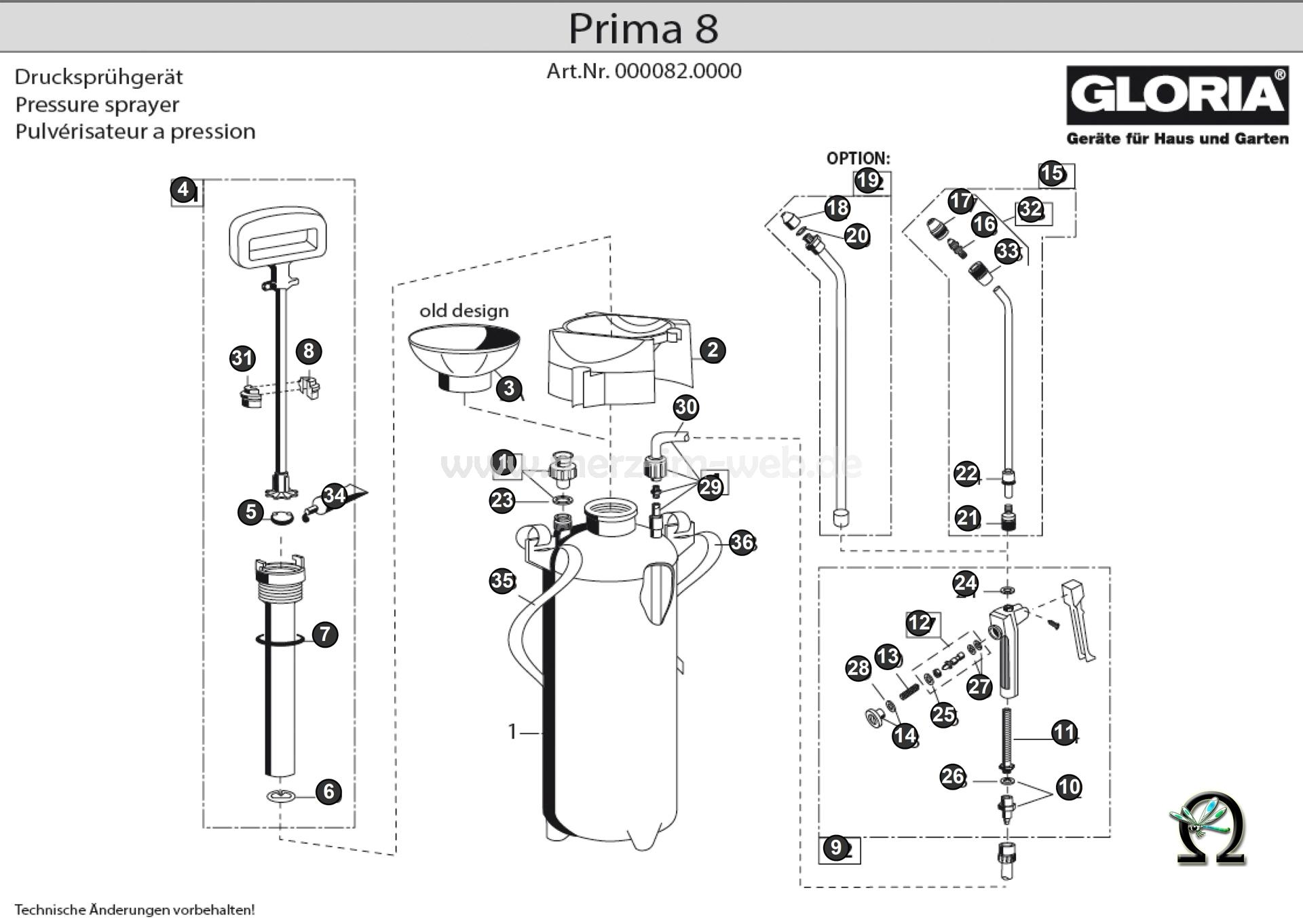 Die Ersatzteilzeichnung mit der Teileliste für das Drucksprühgerät Gloria prima 8 (Art. Nr. 000082.0000) zum herunterladen und ausdrucken.