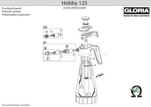 Explosionszeichnung mit Ersatzteilliste für das Handsprühgerät Gloria Hobby 125