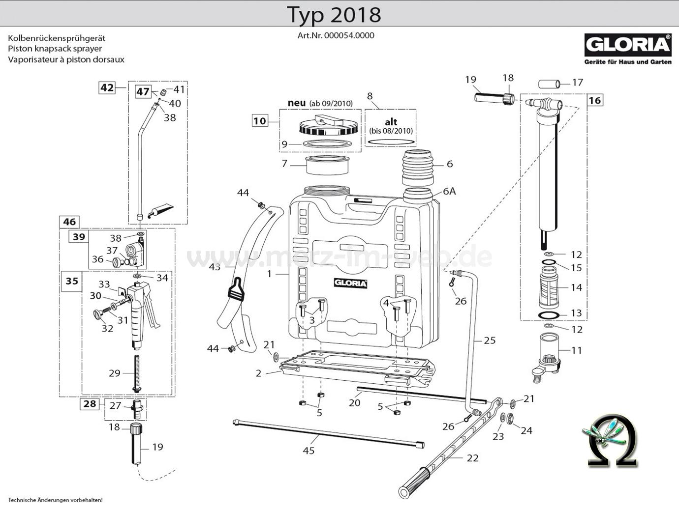 Die Ersatzteilzeichnung mit der Teileliste für das Kolbenrückensprühgerät Gloria 2018 zum herunterladen und ausdrucken.