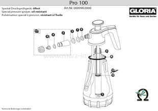 Explosionszeichnung mit Ersatzteilliste für das Handsprühgerät Gloria Pro 100