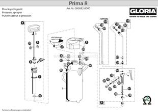 Drucksprühgerät Gloria prima 8 Explosionszeichnung
