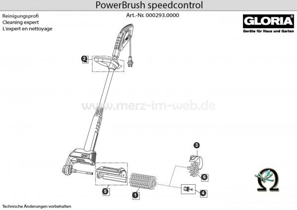 Elektrobürste Gloria PowerBrush speedcontrol Explosionszeichnung (Bild Nr. 2), GLORIA Zwischengriff 730027 f. Powerbrush speedcontrol