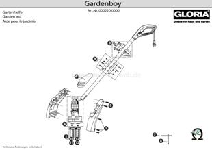 GLORIA Gardenboy PLUS, Explosionszeichnung mit Ersatzteilliste