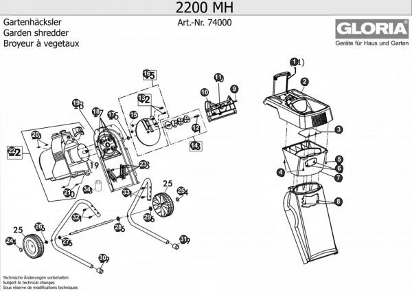 Gartenhäcksler Gloria 2200MH Explosionszeichnung (Bild Nr. 9 und 10), GLORIA Sechskant-Stiftschlüssel 221809