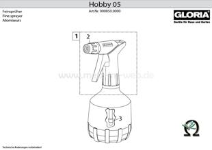 Explosionszeichnung mit Ersatzteilliste für das Handsprühgerät Gloria Hobby 05