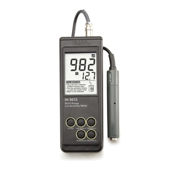 Spritzwassergeschütztes Leitfähigkeits-Handmessgerät, mit 4 Messbereichen und ATC
