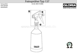 GLORIA Feinsprüher Typ 137, Zeichnung der Einzelteile