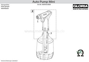 Explosionszeichnung mit Ersatzteilliste für das Handsprühgerät Gloria AutoPump Mini
