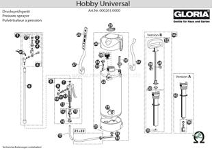 Explosionszeichnung mit Ersatzteilliste für das Drucksprühgerät Gloria Hobby Universal