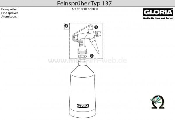 GLORIA Feinsprüher Typ 137 Bild Nr. 1, GLORIA Düse 540261 für Feinsprüher