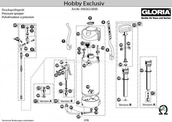 Drucksprühgerät Gloria hobby exclusiv Explosionszeichnung GLORIA O-Ring Ø 16,9 × 2,75 mm EPDM (Bild Nr. 10)