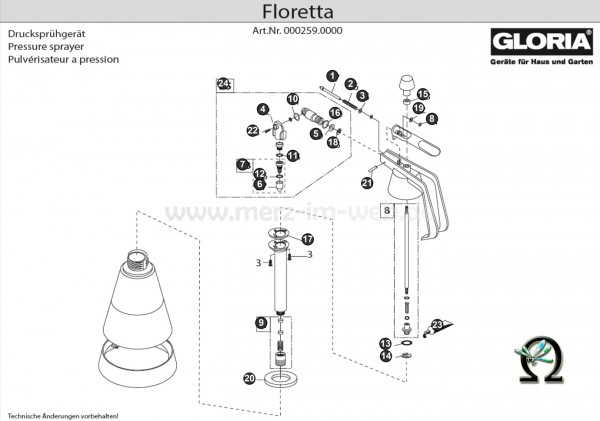 GLORIA Handsprühgerät Floretta Bild Nr. 4, GLORIA Gelenkstück vorne 724760