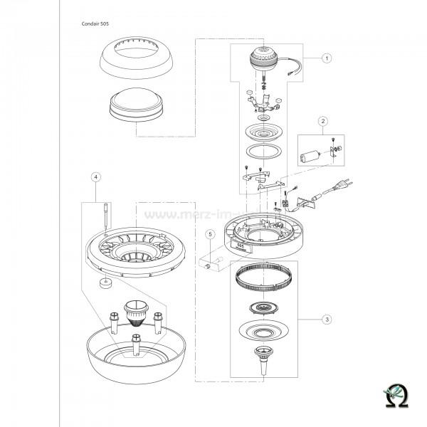 Ersatzteilzeichnung Luftbefeuchter Defensor 505 Bild Nr. 5, Schalter komplett für Zerstäuber Defensor 505 und 505S