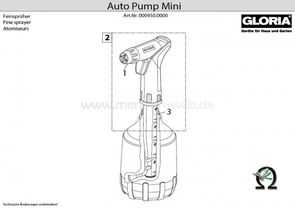 GLORIA Handspühgerät AutoPump Mini Teilezeichnung Bild. Nr. 2 Sprühkopf