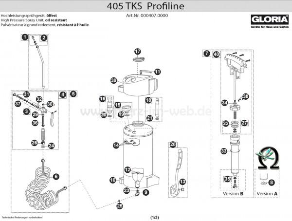 Hochdrucksprühgerät Gloria 405 TKs Profiline Explosionszeichnung (Bild Nr. 9), GLORIA Anschlusswinkel 538915
