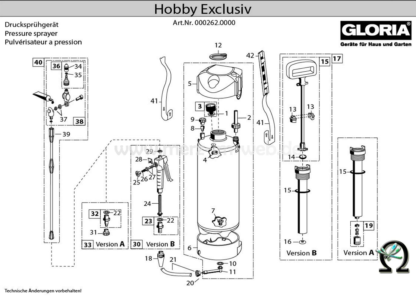 Gloria Druckspühgerät hobby exclusiv Zeichnung der Einzelteile