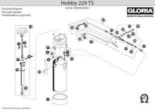 Explosionszeichnung mit Ersatzteilliste für das Drucksprühgerät Gloria Hobby 229 TS